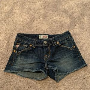 MEK raw hem denim shorts